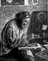Icon-painter at work